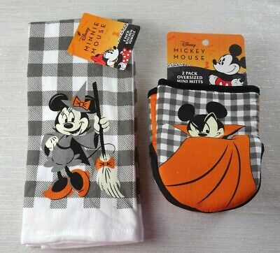 Disney Minnie Mickey Mouse HALLOWEEN FALL Kitchen Towel Oven Mini Mitts 4-PACK