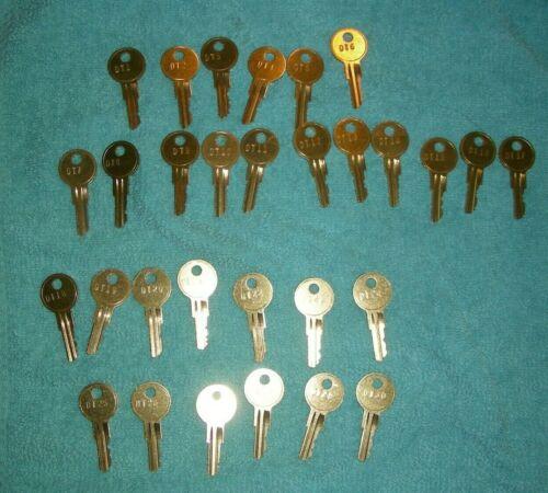 Detex Alarm Box Keys. Set of #1-30 Solid Brass Keys. 30 Keys Total