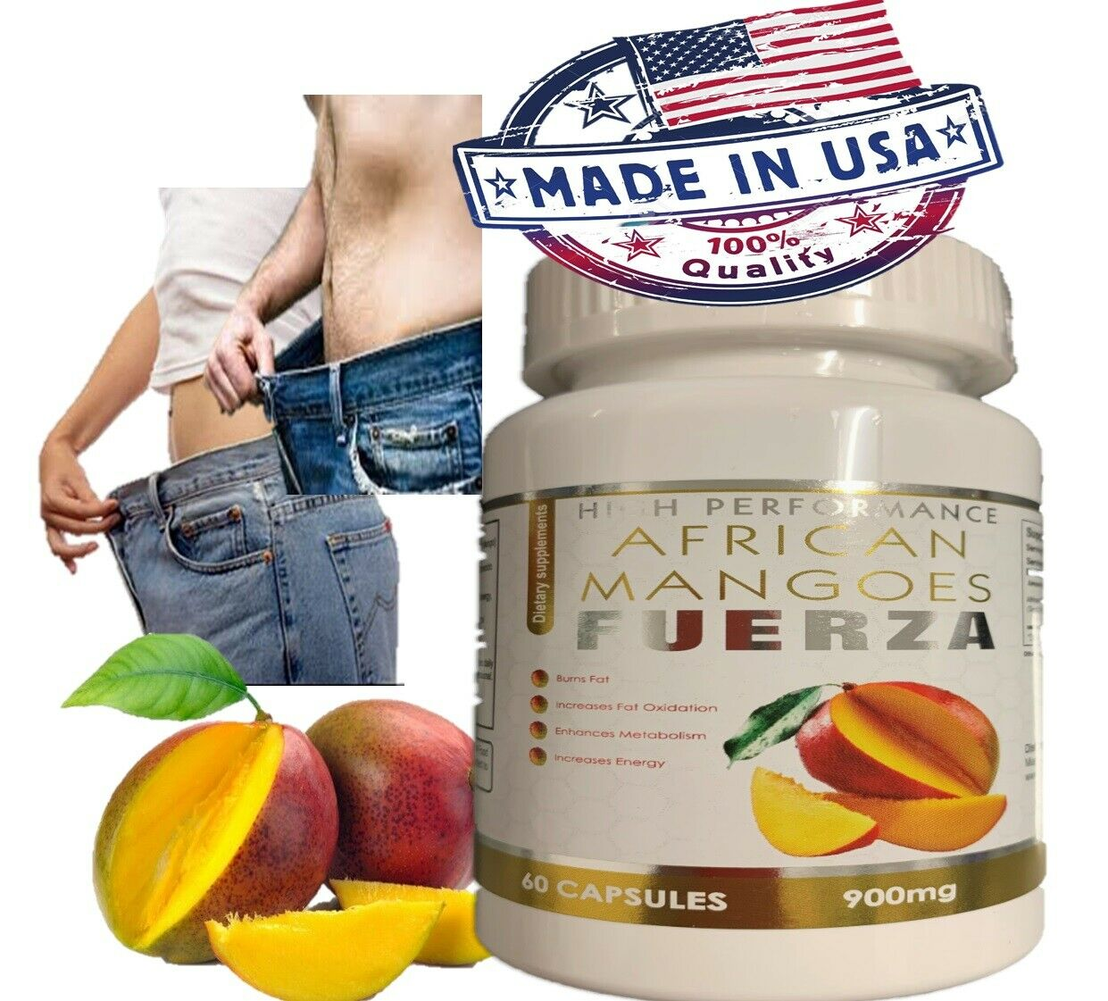 Extreme weight loss pills - PURE AFRICAN MANGO EXTRACT 900mg 1 Bottle 60 Caps