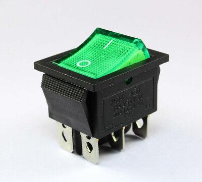 2pcs Green Lighted Rocker Switch Onon 16a 250vac 20a 125v Dpdt
