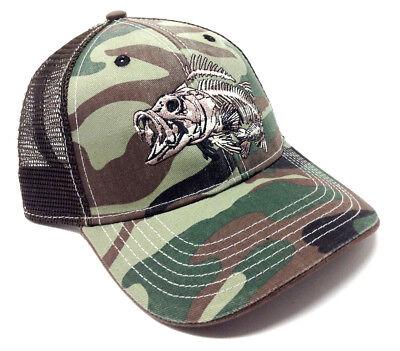LARGEMOUTH BASS SKELETON LOGO FISHING ANGLER MESH TRUCKER CAMO SNAPBACK HAT CAP