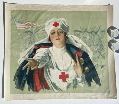 1918 Original WWI Red Cross Nurse Poster by Harrison Fisher