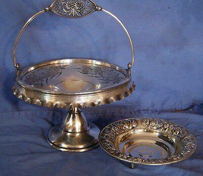 2 pc Antique ROGERS Silverplate Bride's Basket & Ornate Pierced Bowl w/ ROSES