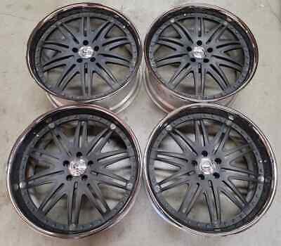 Strut Wheels / Rims 21 inch 5X112  Satin Black / Chrome Lip