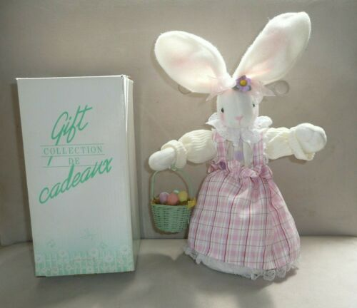 2004 Avon Jiggling Easter Decoration Mrs. Bunny with Basket