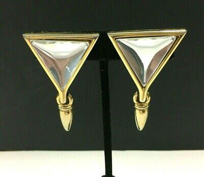 Vtg PAOLO GUCCI Clip Earrings Couture LUCITE Triangle Modernist Dangle zz139u