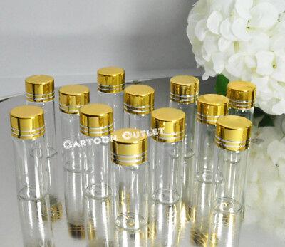 24 PC MINI GLASS BOTTLES GOLD BEACH WEDDING FAVORS RECUERDOS GIFTS DIY VIDRIO