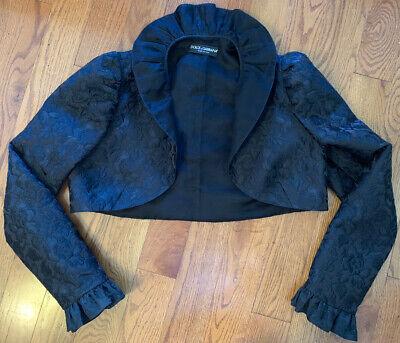 Dolce & Gabbana Black Embroidered Bolero Crop Jacket Size 46