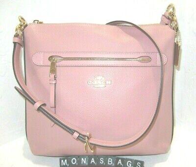 Coach F34823 Mae Petal Pink Pebbled Leather Crossbody Bag Handbag Auth NWT $328