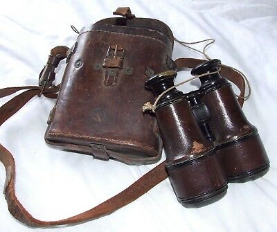 WW1 French LEMAIRE- Fabt Paris Military Brass Binoculars / Original Leather Case