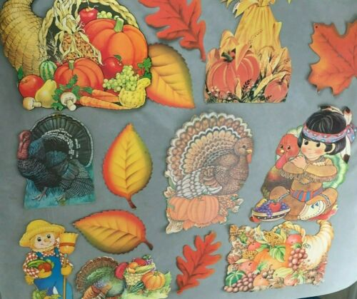14 Vintage Dennison, INDIAN Thanksgiving, Die Cut Cardboard Cutout, Used LOT