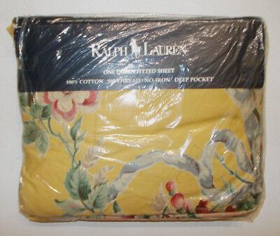 - Rare Ralph Lauren Evelyn Yellow Chintz Floral Queen Fitted Sheet Go W Lillian