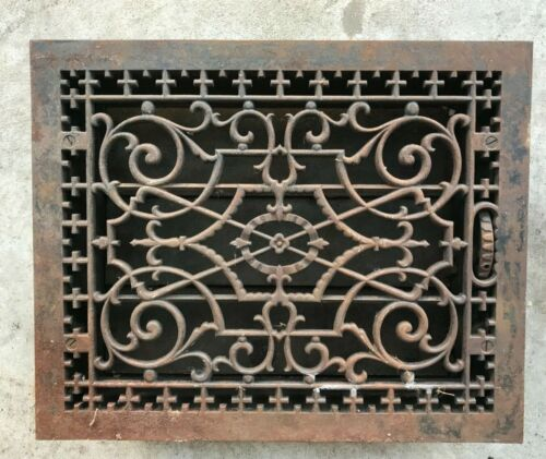 "Antique LG Ornate Iron Floor Heat Register Grate w/ Louvers ~ 17"" X 14""  *NICE!!"