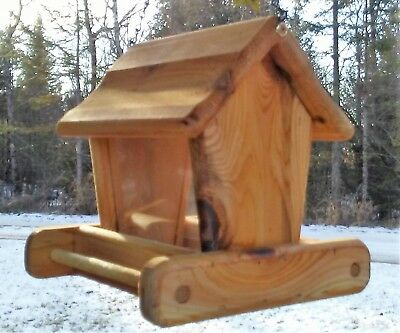 Rustic, small handmade, cedar wood, square, hanging bird feeder, TBNUP # S1H