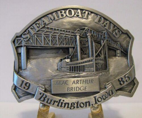 1985 Steamboat Days Burlington Iowa Mac Arthur Bridge Pewter Belt Buckle Ltd Ed