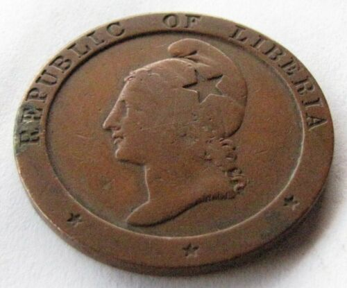 1862 Republic Of Liberia 2 Cent Coin
