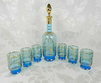 Decanter set Vintage French Liqueur set Includes decanter with stopper and 7 small glasses 1960s