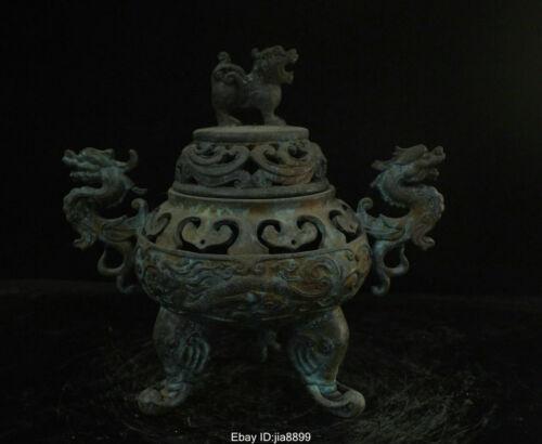 Marked Old Chinese Buddhism Bronze Dragon Beast Incense Burner Censer Statue