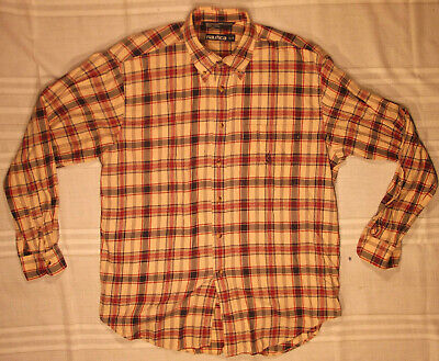 NAUTICA MENS SHIRT TAN LARGE L FLANNEL BUTTON-DOWN PLAID BUTTON FRONT COTTON