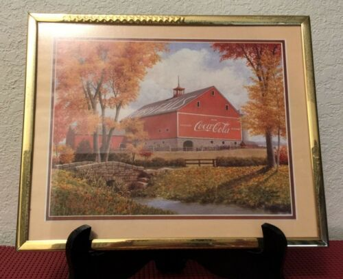 "Vintage FRAMED Robert Doares COCA COLA / RUBY FALLS BARN Picture 10"" W x 8"" H"