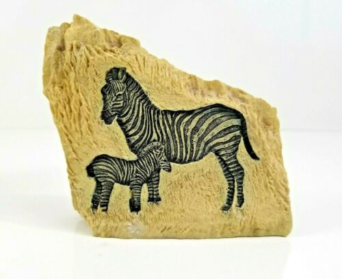 Zebra Rock Carving Painting on Resin Decorative Primitive Art Sculpture