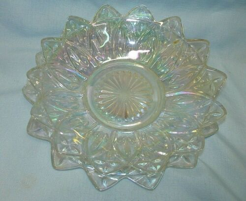 Federal Clear Glass Iridescent Carnival Vintage Flower Petal Plate and Bowl