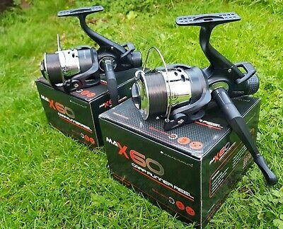 2 X NGT ANGLING PURSUITS MAX 60 2 BB CARP FISHING REELS LOADED 10LB LINE TACKLE