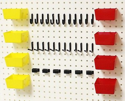 Wallpeg Pro 100 Peg Hook Kit Plastic Bins Flex-lock Pegboard Hooks 38rybx