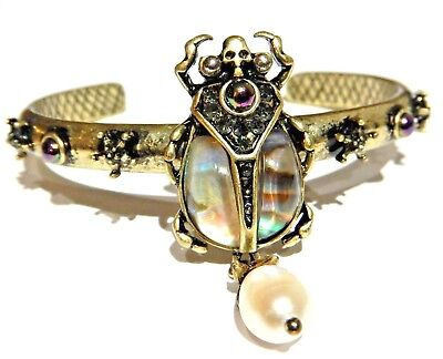 (ABALONE SHELL SCARAB BEETLE BANGLE C-Cuff bracelet Egyptian Revival crystal 6H)