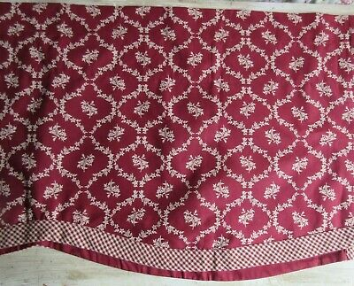 Window Curtain Valance Home Collection by Raghu Floral Red Cream Checkers