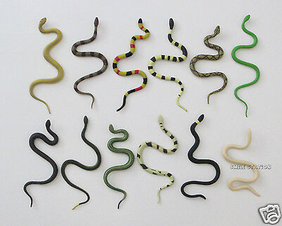 Reptile Birthday Party (12 Plastic Snake Figure Kid Reptile Birthday Party Goody Loot Bag Favor)