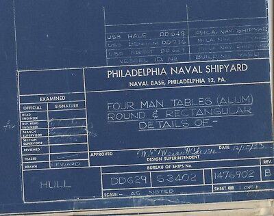 USS DD-445 class MESS DECKS TABLES plan drawing US Navy 1953 destroyer DD-650