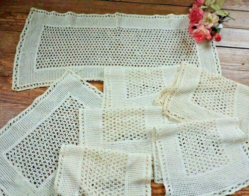 Vintage  hand crochet  runner & 6 placemats
