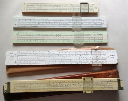 Vintage Slide Rule - Lot Of 5 Keuffel & Esser K&E Post Hemmi Japan SP Acu Math