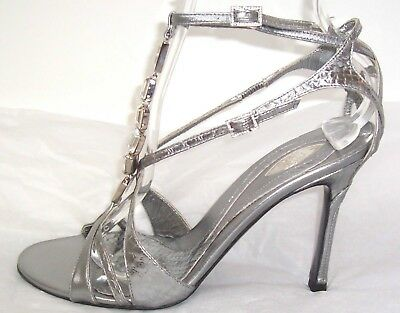 VERSACE Silver Leather Snake Crystal Sandals Shoes 38 8
