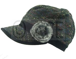 Womens Mixed Fibre Newsboy Baker Boy Gatsby Hat Fur Flower and Ribbon Detail