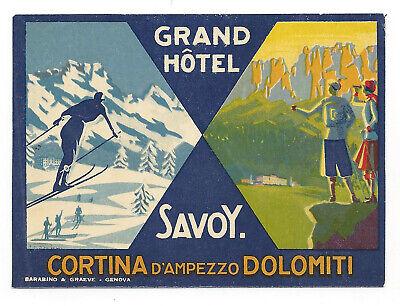 Grand Hotel Savoy CORTINA D'AMPEZZO Italy - vintage luggage label