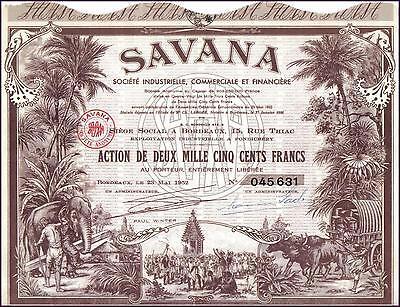 France Colonial Pondicherry Bond 1952 SAVANA 250 f DECO