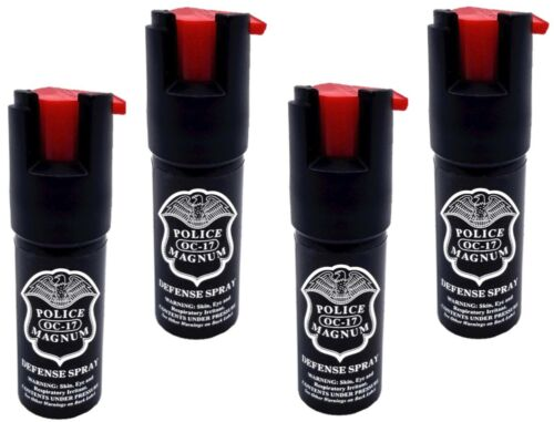 4 PACK Police Magnum pepper spray 1/2oz unit safety lock self defense security