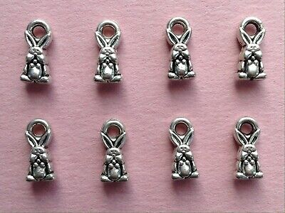 TINY TIBETAN SILVER EASTER🐰BUNNY CHARMS -- JEWELRY, CRAFTS -- 1.0mm -- 8pc (Easter Bunny Crafts)