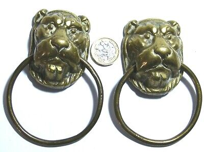 Lion Ring-pull (PAIR ANTIQUE BRASS LION HEAD CHEST FURNITURE MOUNT RING PULL HANDLES GEORGIAN)