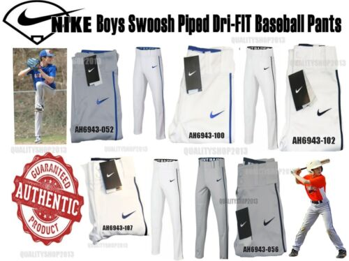 Style AH6943 Nike Boys Youth Kids Swoosh Piped Dri-FIT Baseball Pants new