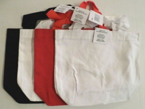 """Canvas Craft Bags Medium Size Set of 4 Black/White/Red  9""""x11"""" /Bottom Gusset"""