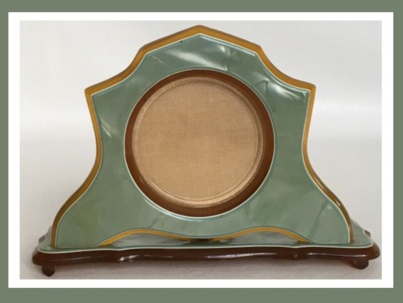 Vintage WILCOX Art Deco Green & Brown Celluloid Picture Frame