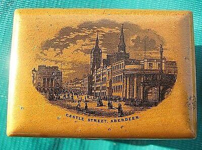 Mauchline Ware box 'Castle Street, Aberdeen', transfer, souvenir treen trinkets