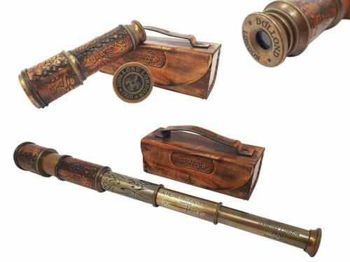 Dollond London 1920 TELESCOPE With Leather Box Antique Brass Marine Collectible