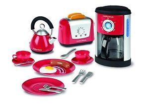 Kids Toy Kitchen Set - Morphy Richards Red Kettle Toaster Plates Coffee Casdon
