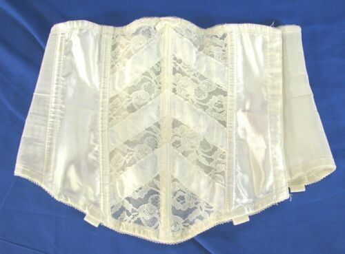 SEARS White Lace Trim CORSET GIRDLE OPEN BOTTOM w/Garter Tabs VINTAGE sz 28