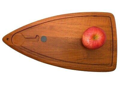 RARE DIGSMED DENMARK MID-20TH C VINT TEAK/CAST IRON SURFBOARD CUTTING BOARD #201
