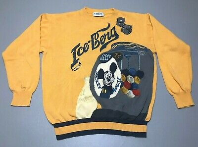 Vintage 90s 1991 ICEBERG X Disney Mickey Mouse Gum Ball Knit Sweater Size Large
